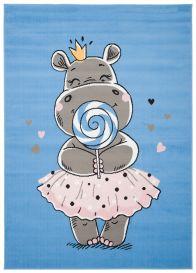JOLLY Tapis Enfant Moderne Bleu Gris Rose Hippopotame Fin Doux