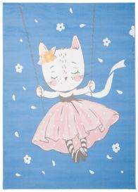 JOLLY Tapis Enfant Moderne Bleu Rose Blanc Chaton Fin Doux