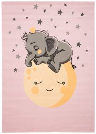 JOLLY Tapis Enfant Moderne Rose Gris Jaune Eléphant Lune Fin