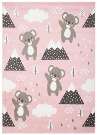 JOLLY Teppich Kurzflor Kinderteppich Spielmatte Rosa Grau Koalabär