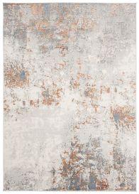 VENEZIA Teppich Kurzflor Modern Abstrakt Design Grau Creme Orange