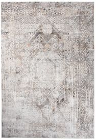FEYRUZ 3D Area Rug Abstract Vintage Ornamental Frame White Grey