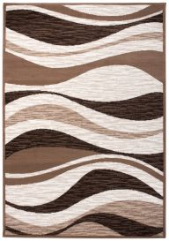 LAILA Modern Area Rug Abstract Waves Brown Beige Durable Carpet