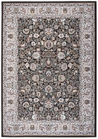 LAILA Traditional Rug Classic Floral Ornamental Black Grey Carpet