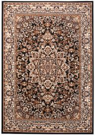 LAILA Traditional Area Rug Short Pile Floral Ornamental Black Brown