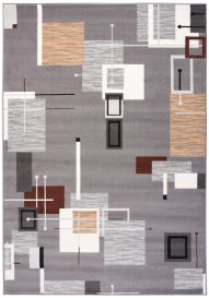 LAILA Tapis Moderne Abstrait Géométrique Gris Blanc Beige Doux