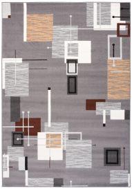 Laila Teppich Kurzflor Modern Grau Weiß Braun Figuren