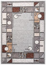 LAILA Modern Area Rug Abstract Geometric Shapes Grey Carpet
