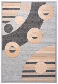 LAILA Modern Area Rug Abstract Circles Light Grey Beige Carpet