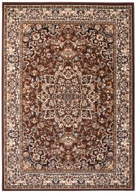 LAILA Traditional Area Rug Short Pile Floral Ornamental Brown