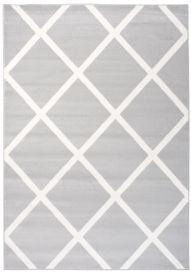 Laila Teppich Modern Kurzflor Grau Weiß Geometrisch Karo