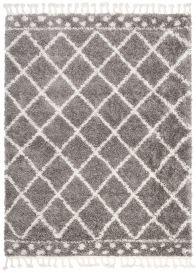 BOHO Area Rug Shaggy Fringes Checkered Dots Grey Cream Durable