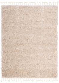 BOHO Area Rug Shaggy Fringes Plain One Colour Beige Durable