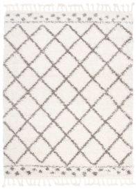 BOHO Area Rug Shaggy Fringes Checkered Dots Cream Grey Durable