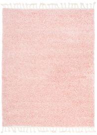 BOHO Area Rug Shaggy Fringes Plain One Colour Pink Durable