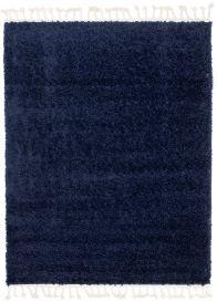 BOHO Area Rug Shaggy Fringes Plain One Colour Navy Blue Durable