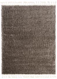 BOHO Area Rug Shaggy Fringes Plain One Colour Dark Grey Durable