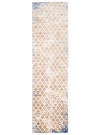 ASTHANE Teppich Läufer Beige Gelb Braun Blau Vintage Abstrakt