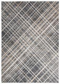 MEDUSA Teppich Kurzflor Schwarz Creme Beige Modern Streifen