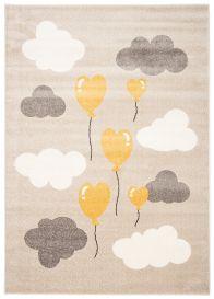 FIESTA Teppich Kurzflor Grau Gelb Creme Dunkelbeige Wolken Herzen