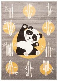 FIESTA Teppich Kurzflor Grau Gelb Orange Meliert Panda Tiere