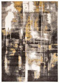FIESTA Teppich Kurzflor Dunkelgrau Grau Creme Gelb Modern Abstrakt
