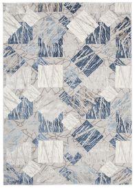 ASTHANE Tapis Moderne Géométrique Bleu Gris Clair Crème 3D Doux