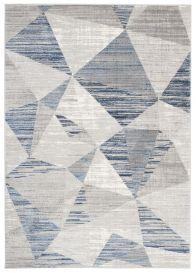 ASTHANE Tapis Moderne Géométrique Rayures Gris Clair Bleu Foncé
