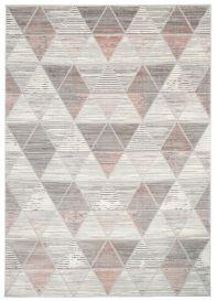 ASTHANE Teppich Kurzflor Creme Grau Rosa Figuren Modern Dreiecke