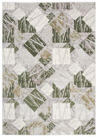 ASTHANE Teppich Kurzflor Creme Grau Grün Figuren Design Meliert