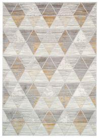 ASTHANE Teppich Kurzflor Creme Grau Gelb Geometrisch Meliert