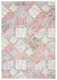 ASTHANE Teppich Kurzflor Creme Grau Rosa Modern Figuren Meliert