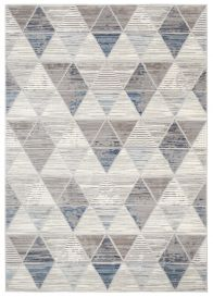 ASTHANE Teppich Kurzflor Creme Grau Blau Geometrisch Dreiecke