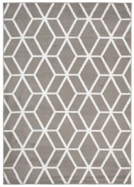 Bali Teppich Kurzflor Modern Geometrisch Gitter Design Grau Weiß