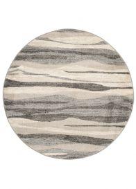 SARI Teppich Rund Creme Braun Grau Modern Meliert Design