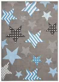 LUXURY Teppich Kurzflor Grau Weiß Blau Modern Sternen Design