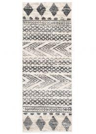 ETHNO Teppich Läufer Kurzflor Creme Grau Weiß Geometrisch Modern