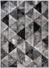 Bali Teppich Kurzflor Grau Schwarz Dreiecke Meliert