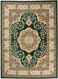 Bali Teppich Kurzflor Klassisch Grün Beige Floral Medaillon