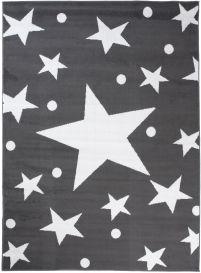 BALI Modern Area Rug Short Pile Stars Dots Dark Grey White