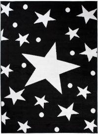 Bali Teppich Kurzflor Modern Schwarz Weiß Sterne Design