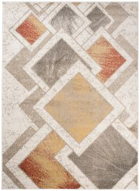 JAWA Teppich Kurzflor Modern Creme Braun Gelb Grau Viereck Design