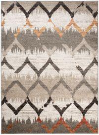 JAWA Teppich Kurzflor Modern Braun Creme Grau Marokkanisch Gitter