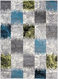 JAWA Teppich Kurzflor Modern Grau Blau Grün Schwarz Karo Design