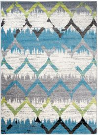 JAWA Teppich Kurzflor Modern Marokkanisch Grau Grün Blau Weiß