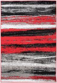 MAYA Vloerkleed Grijs Rood Wit Lijnen Vintage Modern Design