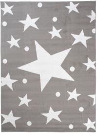 BALI Modern Area Rug Short Pile Stars Light Grey White