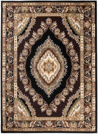 BALI Traditional Area Rug Short Pile Eye Ornament Black Brown