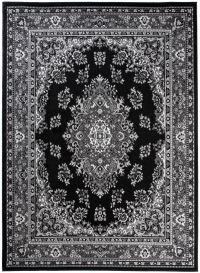Bali Teppich Kurzflor Klassisch Schwarz Grau Floral Ornament