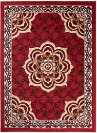 Bali Teppich Kurzflor Klassisch Rot Floral Ornament Design